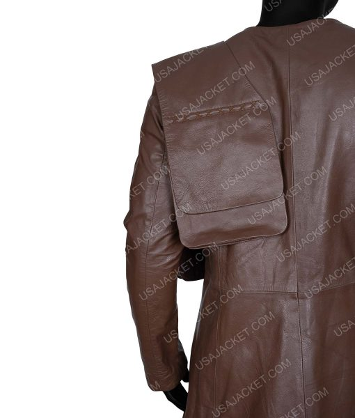 Cursed 2020 Gustaf Skarsgård Brown Leather Coat