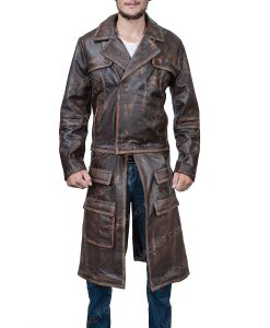 Grant Bowler Distressed Brown Leather Jacket