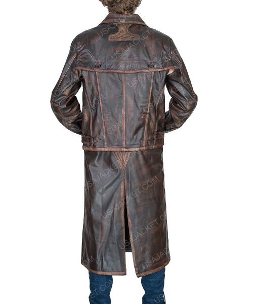 Defiance Distressed Brown Leather Joshua Nolan Trench Coat