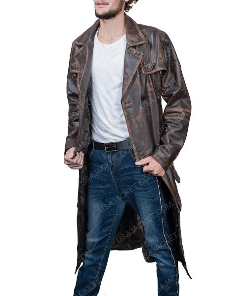 Grant Bowler Defiance Distressed Brown Leather Trench Coat