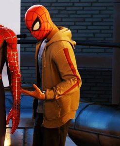 Marvel Spider-Man PS4 Miles Morales Brown Zipper Hoodie