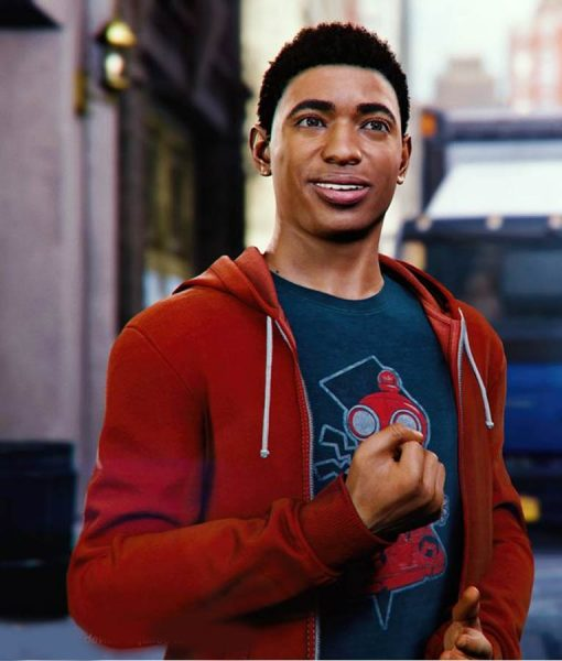 Marvel Spider-Man PS4 Miles Morales Red Zipper Hoodie