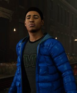 Marvel Spider-man PS4 Miles Morales Puffer Blue Hoodie Jacket