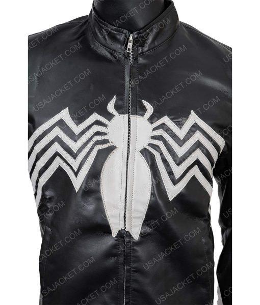 Men's Black PU Leather Spider Logo Medium Size Jacket