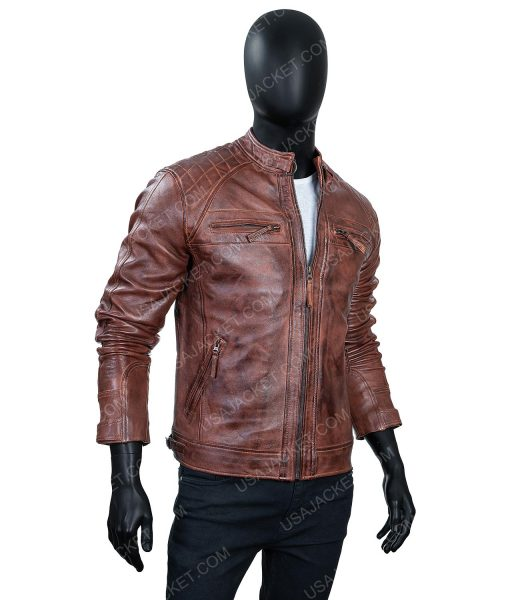 Cafe Race Ten Distressed Leather Jacket In Large Size For Mens