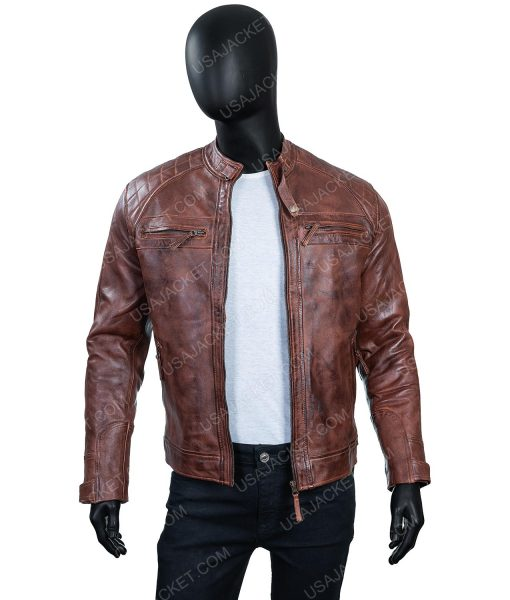 Men's Cafe Race Ten Distressed Leather Jacket In Large Size