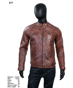 Men's Cafe Race Distressed Leather Jacket In Large Size