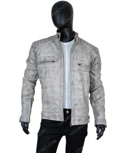 Cafe Racer Grey Distressed Leather 2XL Jacket