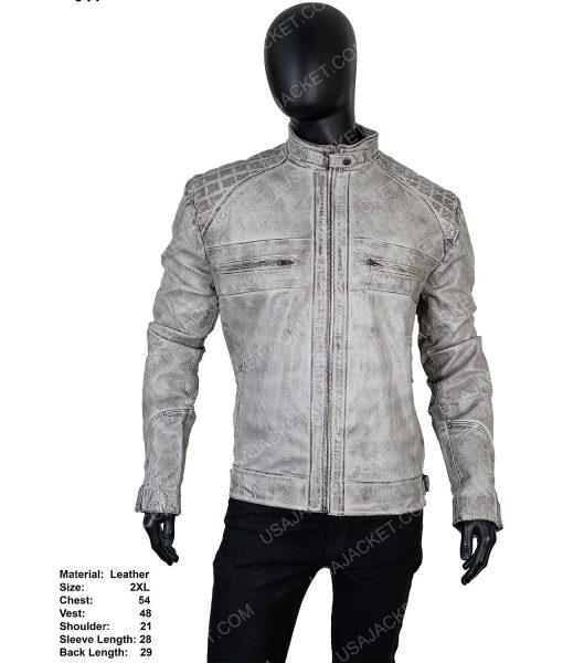 Men's Cafe Racer Grey Distressed Leather Jacket