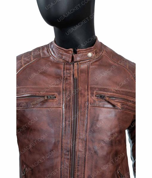 Men's Cafe Race Ten Distressed Leather Jacket