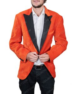 Men's Orange Tuxedo With Black Lapel