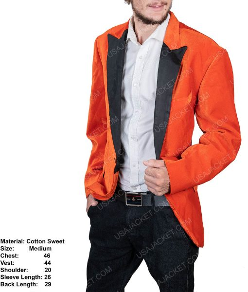 Men's Orange Tuxedo With Black Lapel In Medium Size
