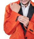 Orange Tuxedo With Black Lapel In Medium Size