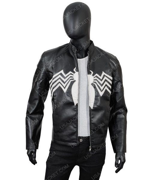 Men's Black PU Leather Spider Print Jacket in Medium Size