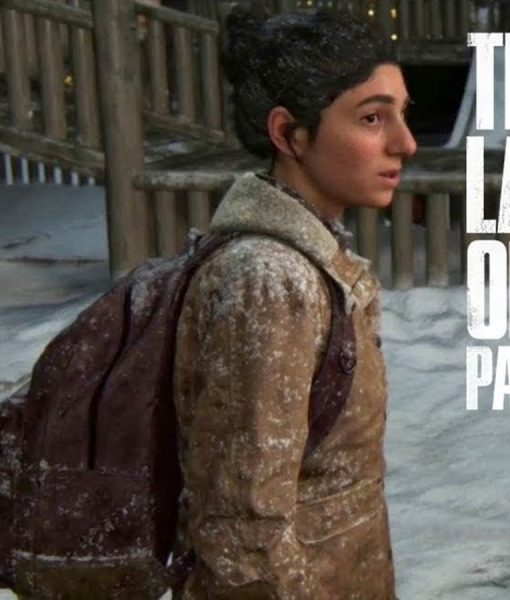 The Last Of Us Part II Dina Brown Leather Jacket With Shearling Collar