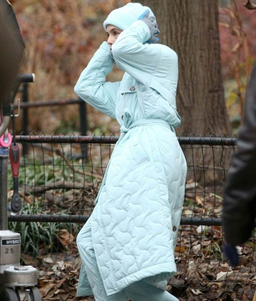 The Politician Season 02 Zoey Deutch Blue Quilted Coat
