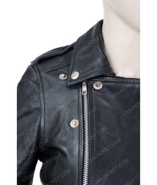 Womens Medium Size Black Leather Biker Jacket