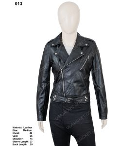 Womens Black Leather Belted Jacket in Medium Size