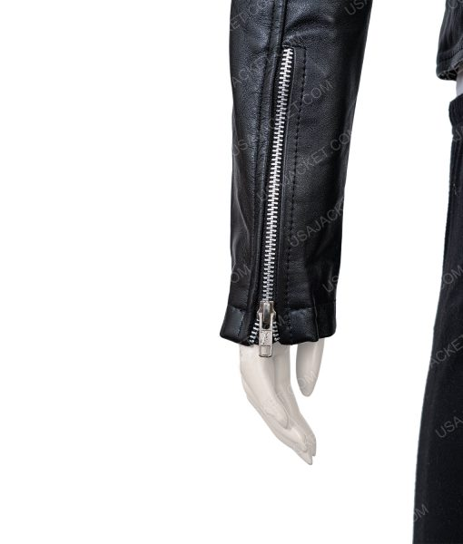 Womens Black Leather Moto jacket
