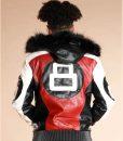 8 Ball Logo Bomber Leather Jacket