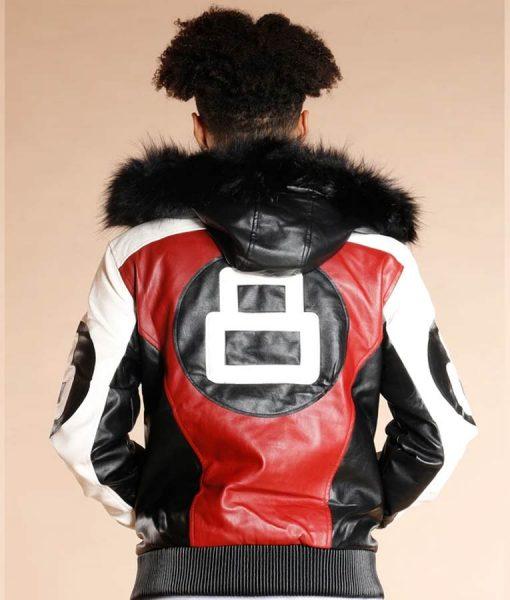8 Ball Logo Hooded Leather Jacket