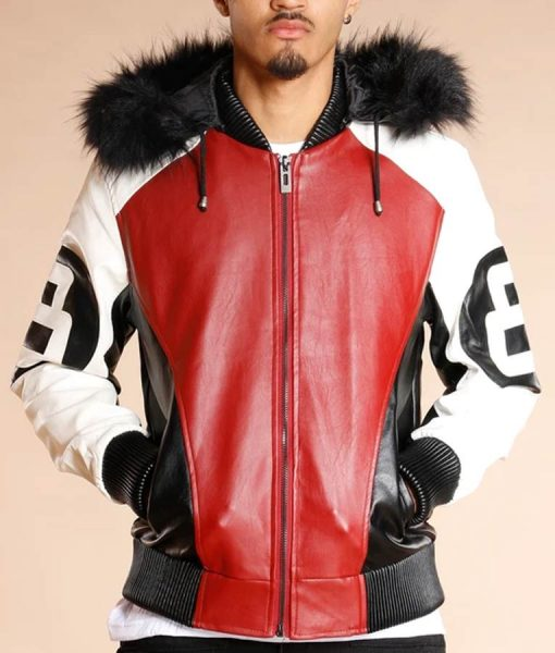 8 Ball Logo Bomber Style Fur Hooded Leather Jacket