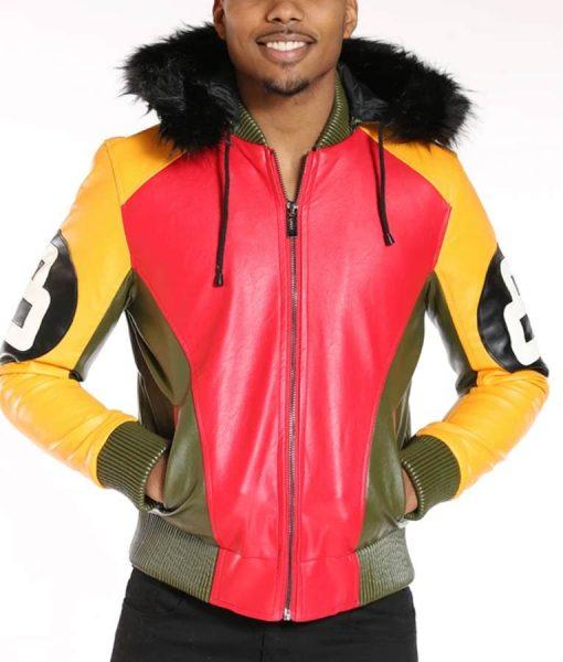 8 Ball Logo Light Fur Hood Jacket