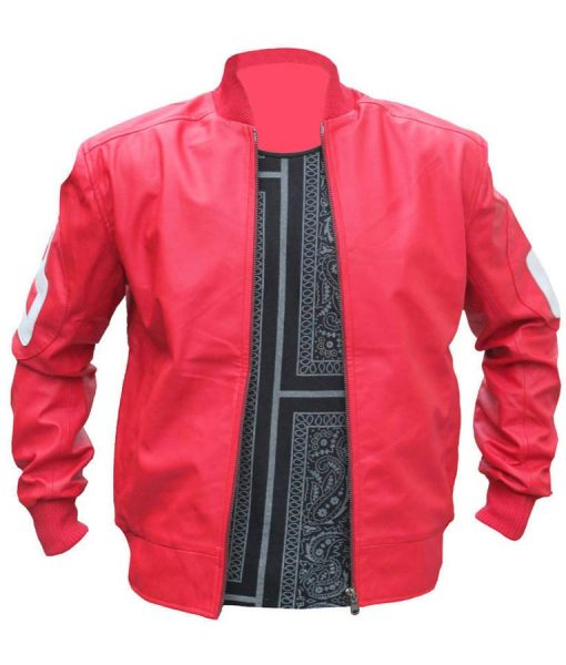 8 Ball Logo Pink Leather Bomber Jacket