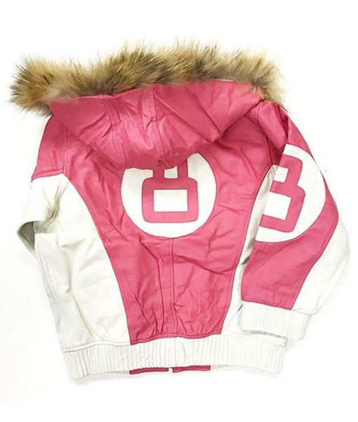 8 Ball Pink Leather Jacket With Hood