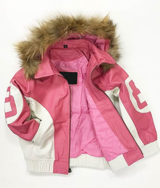 8 Ball Pink Leather Faux Fur-Lined Hooded Jacket
