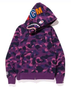 Purple Color Camo Shark Full Zip BAPE Hoodie