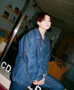 BTS Dynamite Jungkook Denim Bomber Jacket