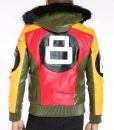 Bomber Style 8 Ball Logo Jacket With Light Fur Hood