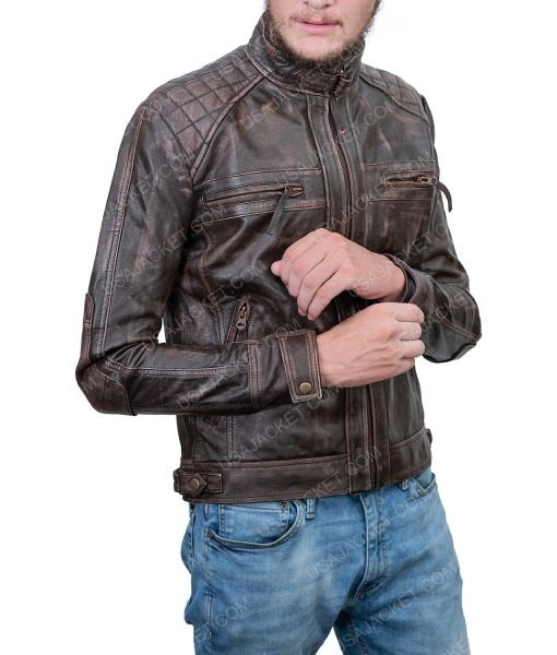 Clearance Sale Brown Leather Cafe Racer Jacket
