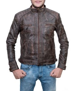 Clearance Sale Cafe Racer Brown Leather Jacket (XS) Size