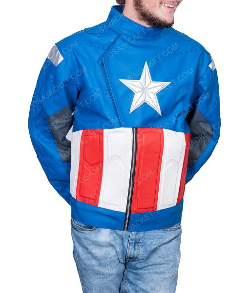 Clearance Sale Captain America Men's Blue PU Leather Jacket (M) Size