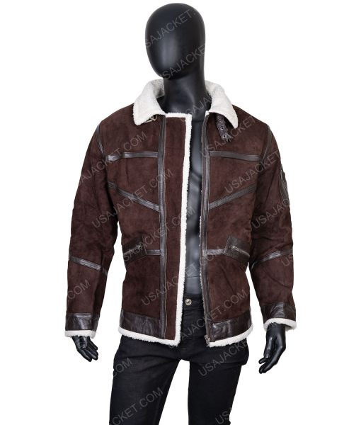 Clearance Sale Men's Suede Leather Brown Jacket (L) Size