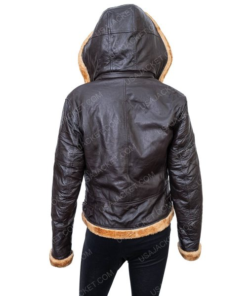 Clearance Sale Black Leather Women's Shearling Hooded Jacket (M) size