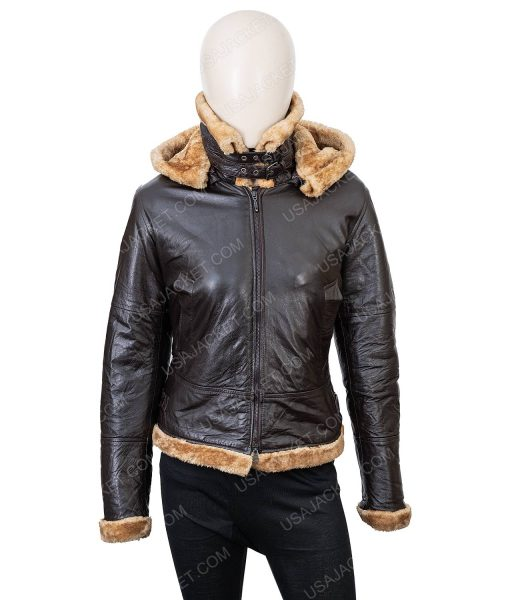 Clearance Sale Women's Black Leather Shearling Hooded Jacket Medium Size