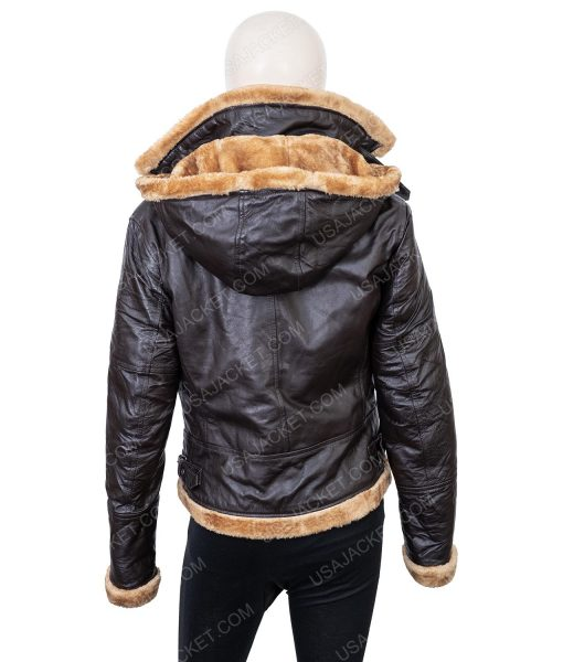 Clearance Sale Women's Shearling Hooded Jacket Medium Size