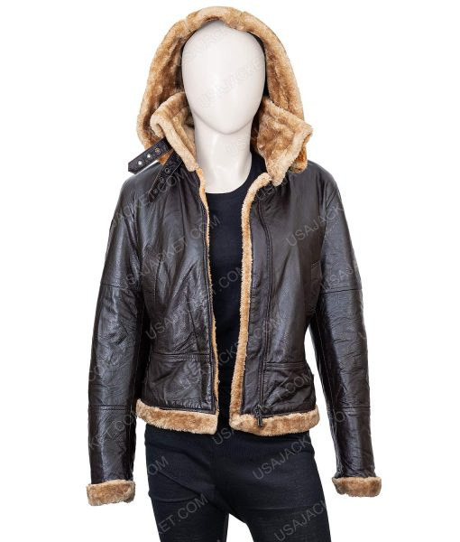 Clearance Sale Women's Shearling Black Leather Jacket
