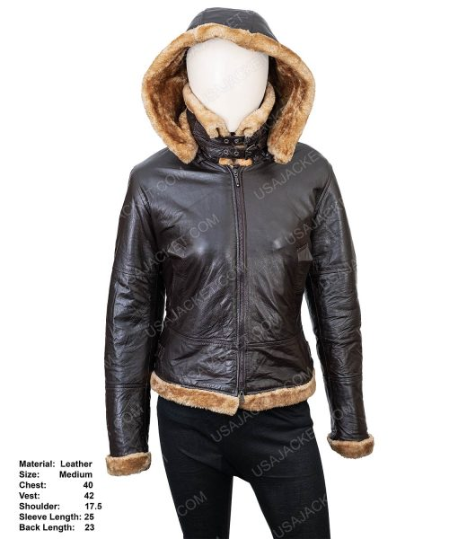 Clearance Sale Women's Shearling Leather Hooded Jacket
