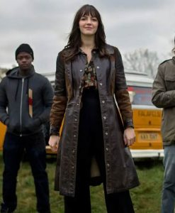 Kat And The Band Ella Hunt Brown Leather Kat Trench Coat