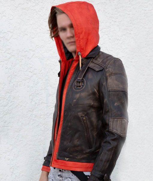 Goku Orange Hood Brown Distressed Leather Jacket