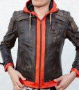 Goku Orange Hood Leather Jacket