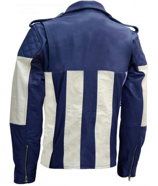 Mens Blue and White Motorcycle Padded Shoulder Leather Jacket