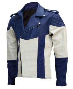 Mens Blue and White Motorcycle Leather Jacket