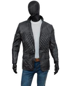 Men's one Button Black Slim fit Coat
