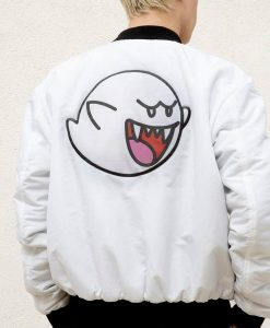 Super Mario Boo White Satin Jacket