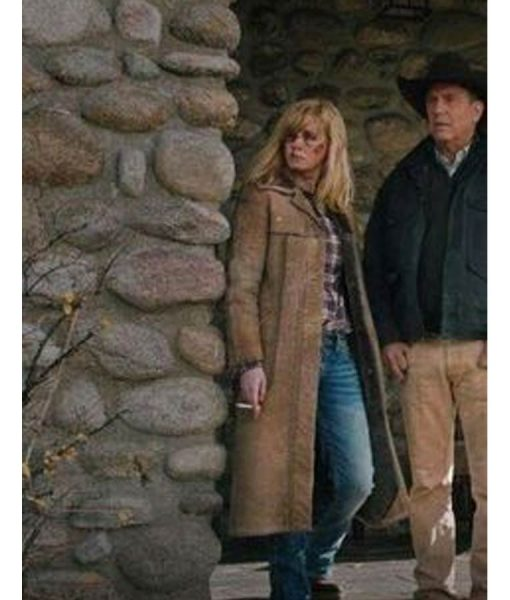 Yellowstone Kelly Reilly Brown Long Leather Coat